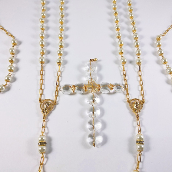 Lazo Matrimonial Chapa De Oro Perla Cristal Checo Giselle 08