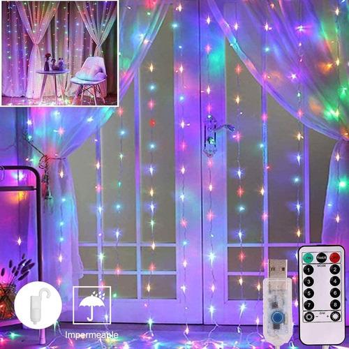 Imagen 1 de 8 de Rgb Cortinas Luz Navideña Decorativa Luz 300 Led 8 Modo 3x3m