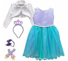 Vestido Ariel Pequena Sereia Luxo E Tiaras Luvas E Bolero