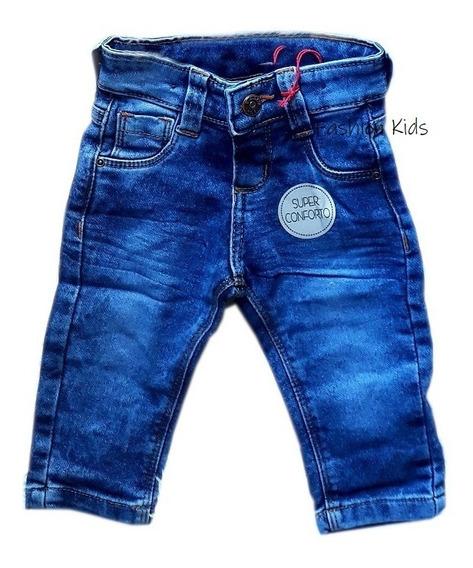 Calça Jeans Infantil Bebê Menino Listrada 1 À 18 Meses