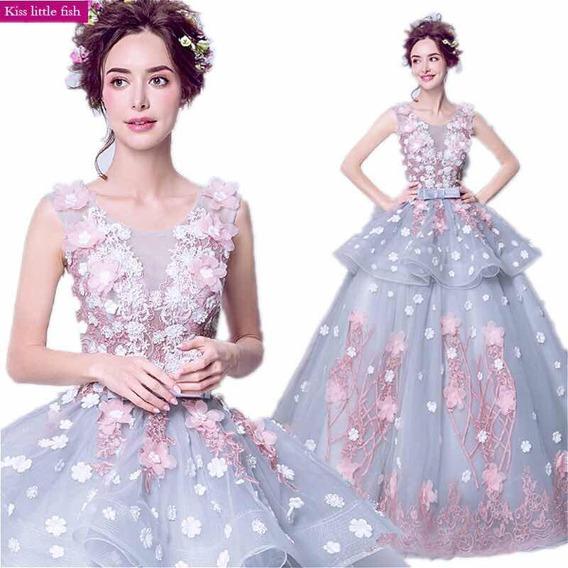 Vestido Xv 15 Años Flores 3d Importado Mod Q-026620