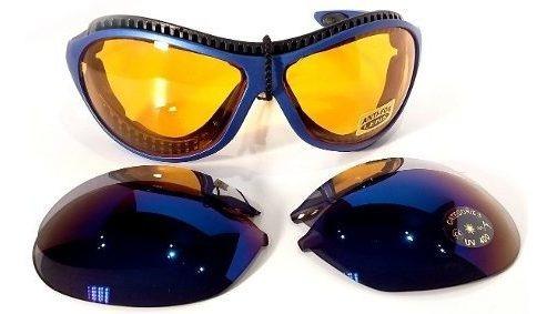 Gafas De Sol Nieve Espejado Intercambiable Azul Anti Empañe