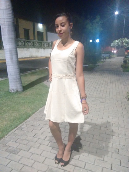 Vestido Soltinho Branco E Bege