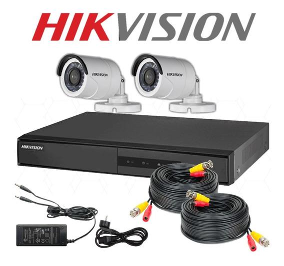 Hikvision Kit Dvr Hd 720p 4ch 2 Cámaras Fuente Cables Combo