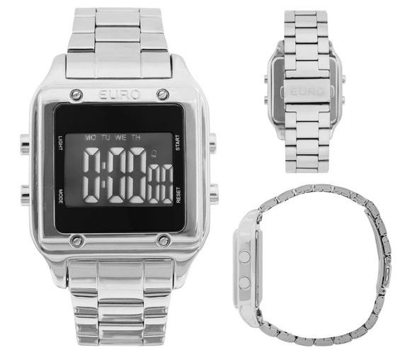 Relógio Prata Preto Digital Led Euro Feminino Eug2510ab/3p Quadrado Sabrina Sato Original