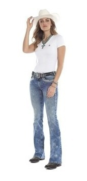 Calça Feminina Country Bordada Tassa Jeans Boot Cut Light Wash