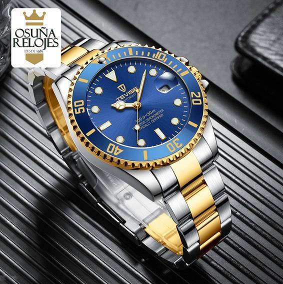 Relógio Masculino Automático Original Dourado Prata Tevise