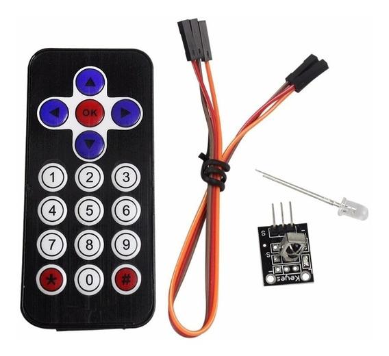 10x Kit Controle Remoto Ir + Receptor + Cabos P/arduino