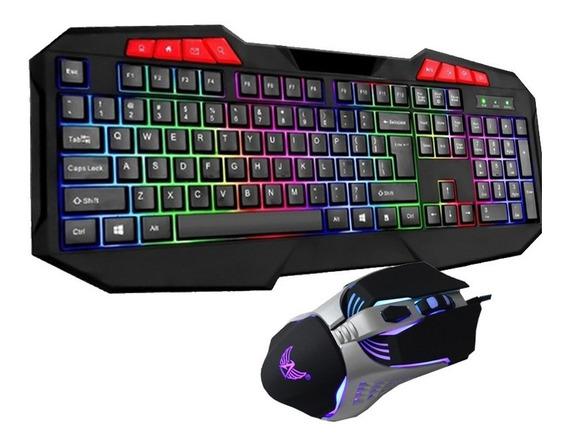 Kit Teclado Iluminado Led Rgb + Mouse Gamer Usb Neon Lol Bf