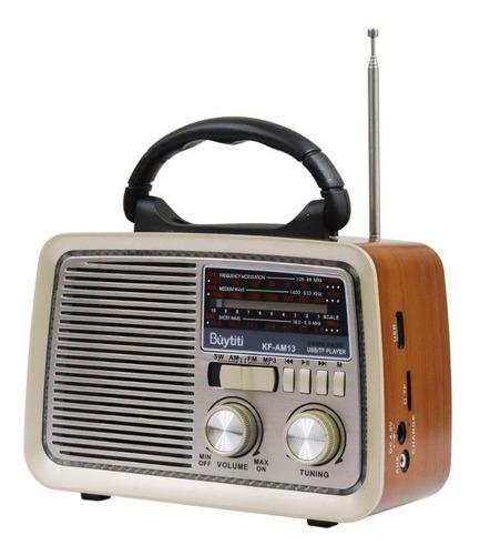 Imagen 1 de 10 de Bocina Portatil Radio Am Fm Usb Tf Aux Vintage Recargable