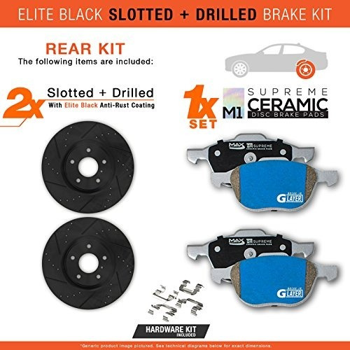 Max Brakes Front Elite E-Coated XDS Rotors and M1 Supreme Pads Brake Kit KM012481-10