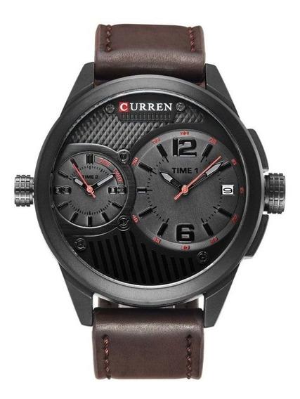 Relógio Masculino Pulseira De Couro Marrom C Garantia E Nf