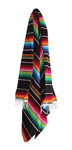 Imagen 1 de 3 de Del Mex Mexicano Serape Manta Varios Tamaños Y Colores Negr