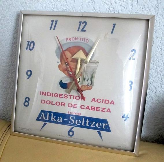 Antiguo Reloj Publicidad De Alka Seltzer 1957 Funcionando