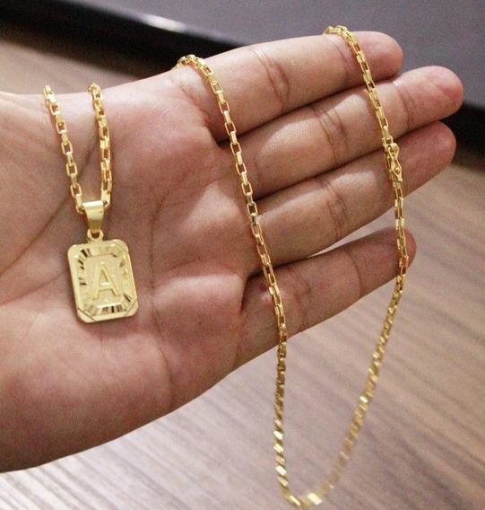 Cordão Tijolinho 70cm 3mm + Ping Letra A Banhado A Ouro 18k