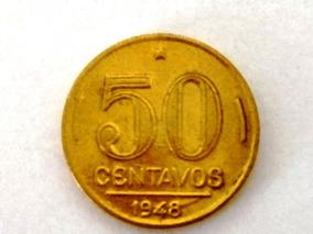 Moeda De 50 Centavos 1948 - Pres. Dutra - Banhada Em Ouro.