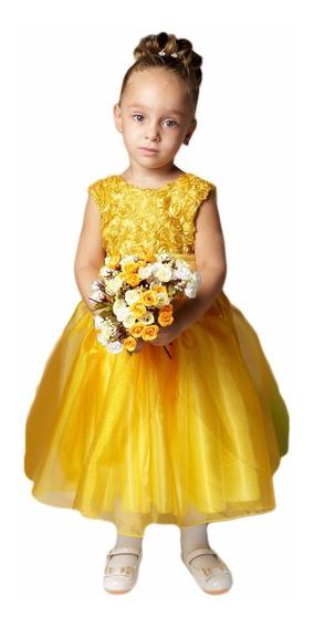 Vestido Dama Casamento Formatura Infantil Amarelo Curto