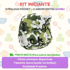Kit 4 Fraldas De Pano Moderna + 6 Absorventes Bambu 4 Camada