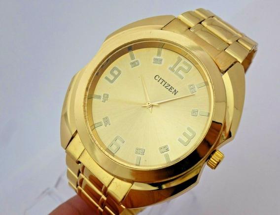 M1) Relógio De Pulso Citizen Banhado A Ouro Frete Grátis