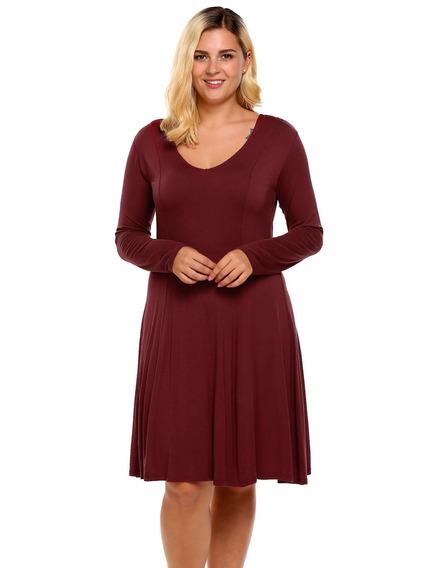 Mulheres V -pescoço Longo Manga Sólido Casual Solto Camiso