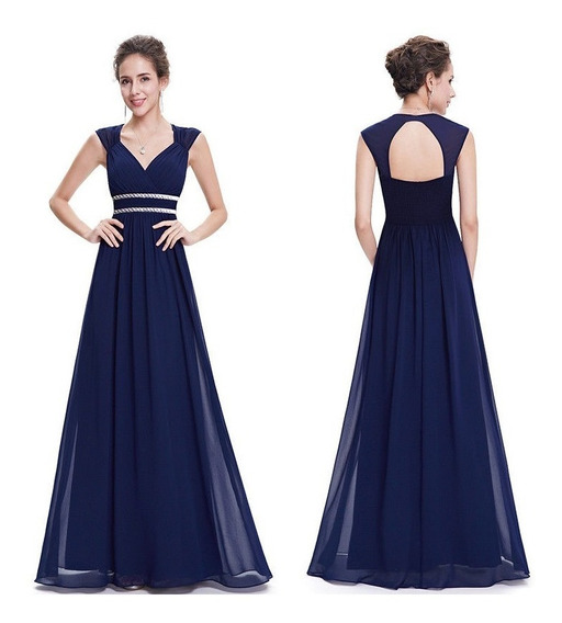 Vestido Largo Color Rojo Borgoña Y Azul Importado