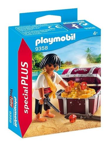 Imagen 1 de 6 de Playmobil Pirata Con Cofre Del Tesoro 9358 Original Educando