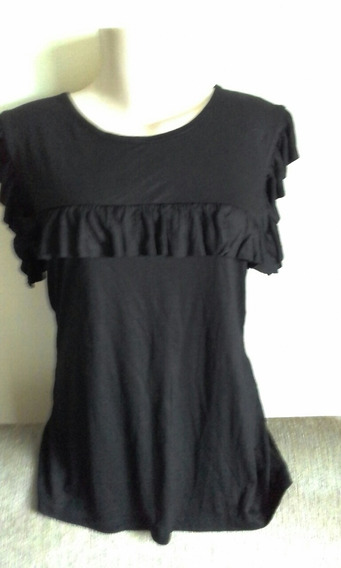 Blusa Camiseta Básica Preta Com Babados Tam P