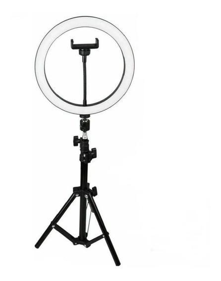 Kit Ring Ligth Anel Luz 25cm Mak Fotos Com Tripé 1,60+brinde