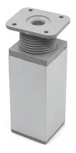 Imagen 1 de 10 de Pata Aluminio Mate Cuadrada Para Mueble 10cm Regulable