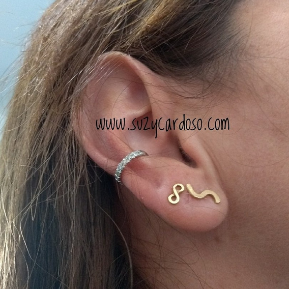 Piercing Falso Ouro 18k Diamante Brilhante