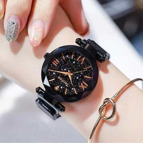Combo 4 Relógios De Pulso Feminino Céu Estrelado Kit Atacado