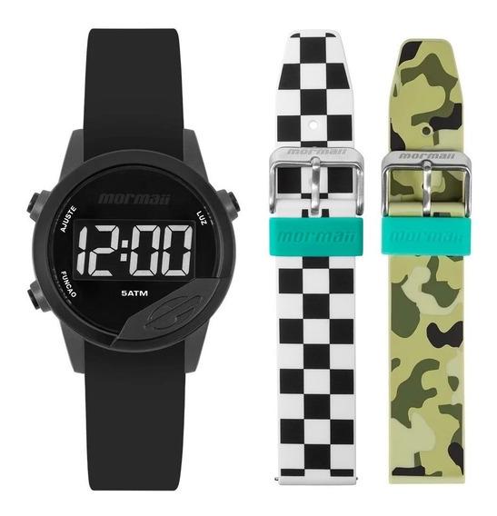 Relógio Mormaii Mude Unissex Digital Preto Troca Pulseira