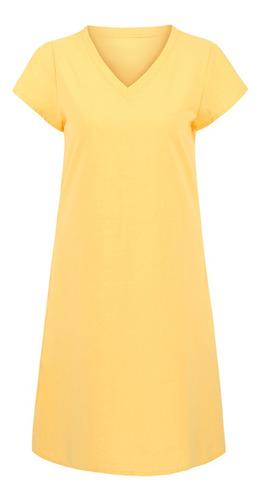 Vestido De Lino De Algodón Para Mujer, Cuello En V, Manga Co