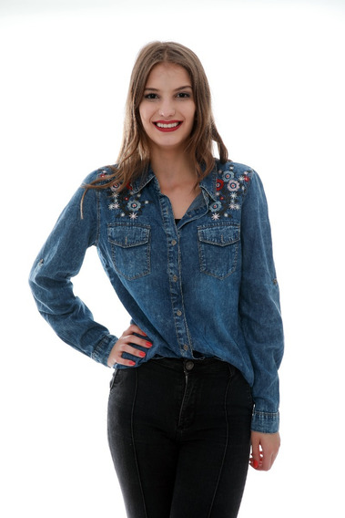 Camisa Jeans Feminina Lavar Bordado Primaveva Importado L002