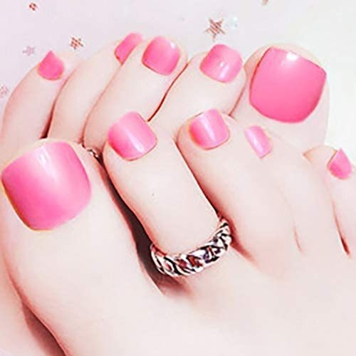 Woeoe Bling Brillante Falso Uñas De Los Pies De Barbie Rosa