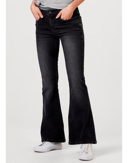 Calça Jeans Feminina Flare Algodão Lavação Estonada Hering