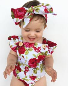 Body Macacão Bebê Menina + Turbante Floral Verão P M G E Gg