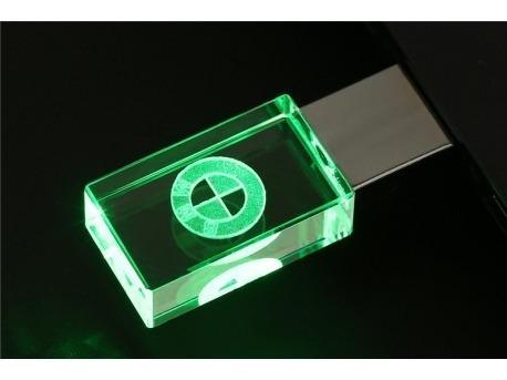 Pen Drive 16gb Cristal Led Bmw Verde + Caixa Portátil