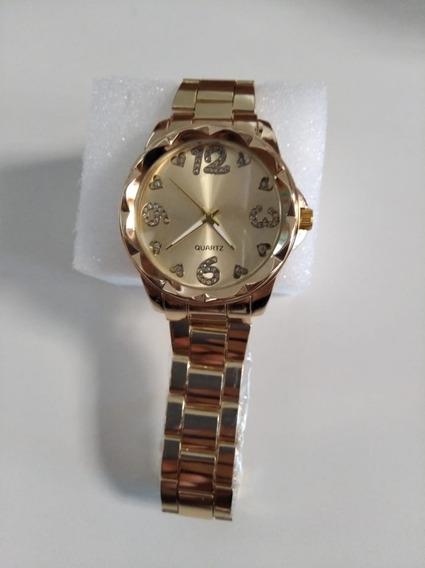 Relógio Dourado Feminino Maen 02 + Caixa E Espuma Protetora