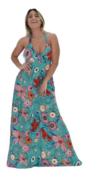Vestido Floreado Largo Mujer Estampado Floreado Ajustable