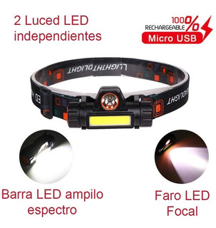 Lampara Recargable Usb D Iones De Litio Super Potente 2 Leds
