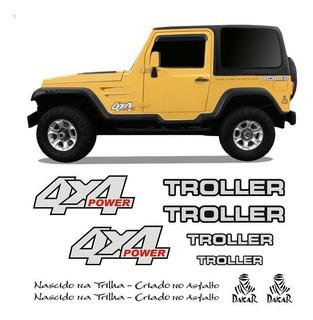 Kit Adesivos Troller 2000/2004 4x4 Power Resinado Preto