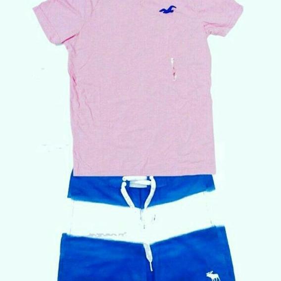Kit Camisa+bermuda Hollister Abercrombie - 100% As Autentic