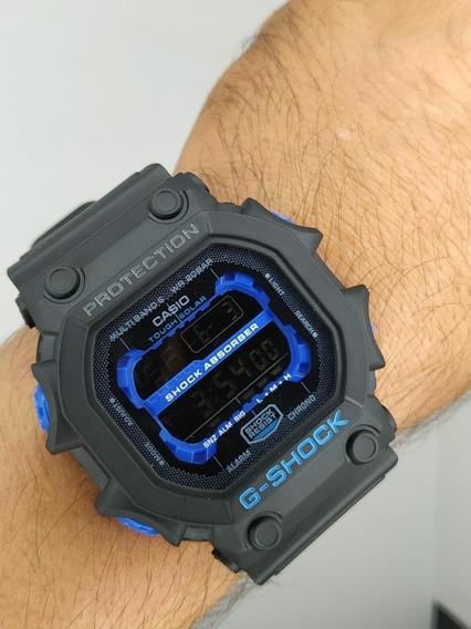 Relógio G-shock Quadrado Preto Com Azul