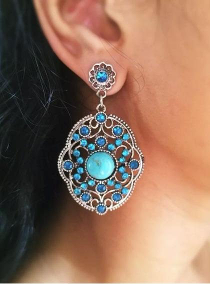 Brinco Grande Feminino Azul Com Pedras, Promoção, Barato