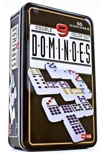 Juego De Domino Doble 9 Bisonte En Caja Metálica 55 Fichas