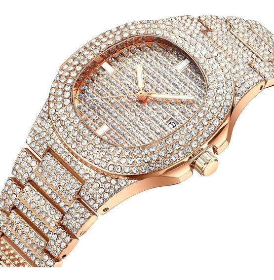 Relógio Dourado Cravejado Zirconia Hip Hop Prova D