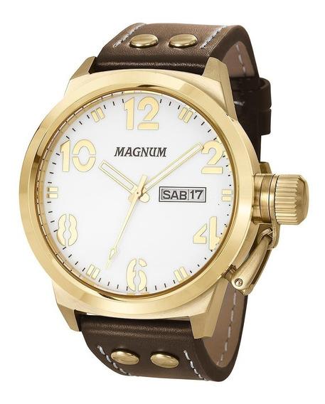 Relógio Magnum Masculino Dourado Couro - Ma32783b