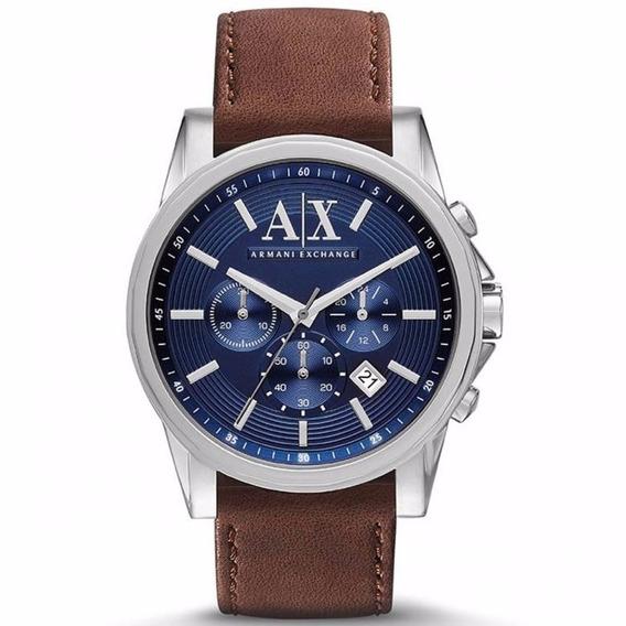 Relogio Armani Exchange Ax2501 Couro Marrom Azul Original