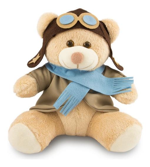 Ursinho De Pelúcia Aviador 25cm Decoração Anti-alérgico